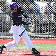 Anthony Firenzi #5 of the Niagara Purple Eagles hits the ball during the game at Friedman Diamond on March 16, 2014 in Brookline, Massachusetts. (Photo by Elan Kawesch)