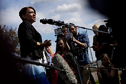 June 21, 2017 - Flint, Michigan, U.S. - Flint mayor KAREN WEAVER talks to the press at Bishop International Airport in Flint after a police officer was stabbed earlier in the day on Wednesday. (Credit Image: © Detroit Free Press via ZUMA Wire)