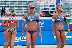Simona and Erika Fabjan of Slovenia at A1 Beach Volleyball Grand Slam tournament of Swatch FIVB World Tour 2011, on August 2, 2011 in Klagenfurt, Austria. (Photo by Matic Klansek Velej / Sportida)