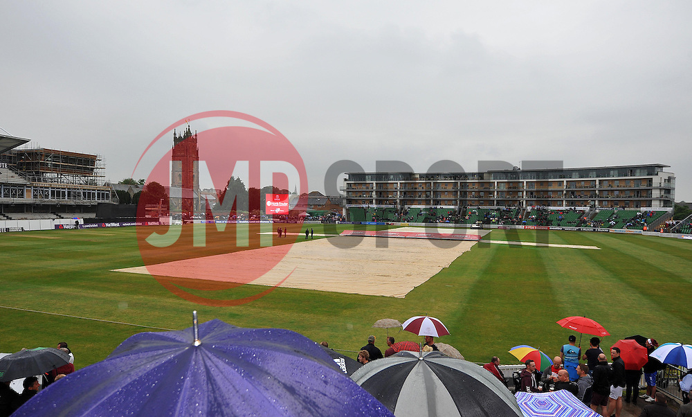 The covers stay on as rain delays the start of play. - Photo mandatory by-line: Harry Trump/JMP - Mobile: 07966 386802 - 12/06/15 - SPORT - CRICKET - Somerset v Surrey - The County Ground, Taunton, England.