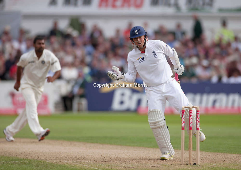 Graeme Swann out to Praveen Kumar during the second npower Test Match between England and India at Trent Bridge, Nottingham.  Photo: Graham Morris (Tel: +44(0)20 8969 4192 Email: sales@cricketpix.com) 29/07/11