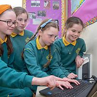 Isabelle Ni Laoghóg, Alannah Ní Fhaolaín, Casey Ní Dhálaigh Caulfield and Mary Nic Suibhne working on their Jessies Project