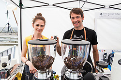 Gregor Gazvoda and his wife preparing a coffee during 5th Time Trial Stage of 25th Tour de Slovenie 2018 cycling race between Trebnje and Novo mesto (25,5 km), on June 17, 2018 in  Slovenia. Photo by Vid Ponikvar / Sportida