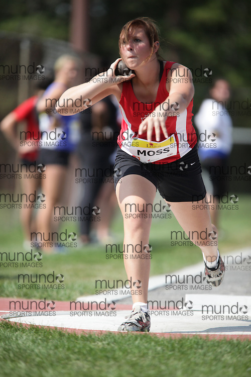 Ottawa, Ontario ---10-08-07--- Moss competes in the shot put at the 2010 Royal Canadian Legion Youth Track and Field Championships in Ottawa, Ontario August 7, 2010..JULIE ROBINS/Mundo Sport Images.