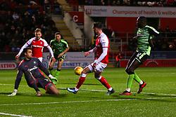 Anthony Forde of Rotherham United crosses - Mandatory by-line: Ryan Crockett/JMP - 16/12/2017 - FOOTBALL - Aesseal New York Stadium - Rotherham, England - Rotherham United v Plymouth Argyle - Sky Bet League One
