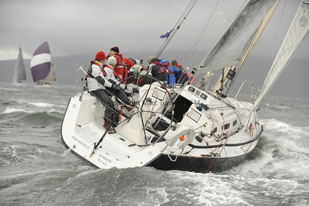 The Clyde Cruising Club's Scottish Series held on Loch Fyne by Tarbert. <br /> Day 4 Racing with a wet Southerly to start clearing up for the last race.<br /> <br /> 2377C ,Tigh Soluis II ,Iain McKinnon ,Hillhead SC ,J109