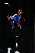"GLASGOW, UNITED KINGDOM, JULY 15, 2017: Albert Morales on stage during the ceremonial weigh-in for ""UFC Fight Night Glasgow: Nelson vs. Ponzinibbio"" inside the SSE Hydro Arena in Glasgow"