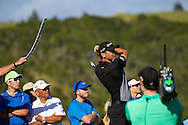 January 07 2016:  Jason Day tees off on number fourteen during the First Round of the Hyundai Tournament of Champions at Kapalua Plantation Course on Maui, HI. (Photo by Aric Becker)