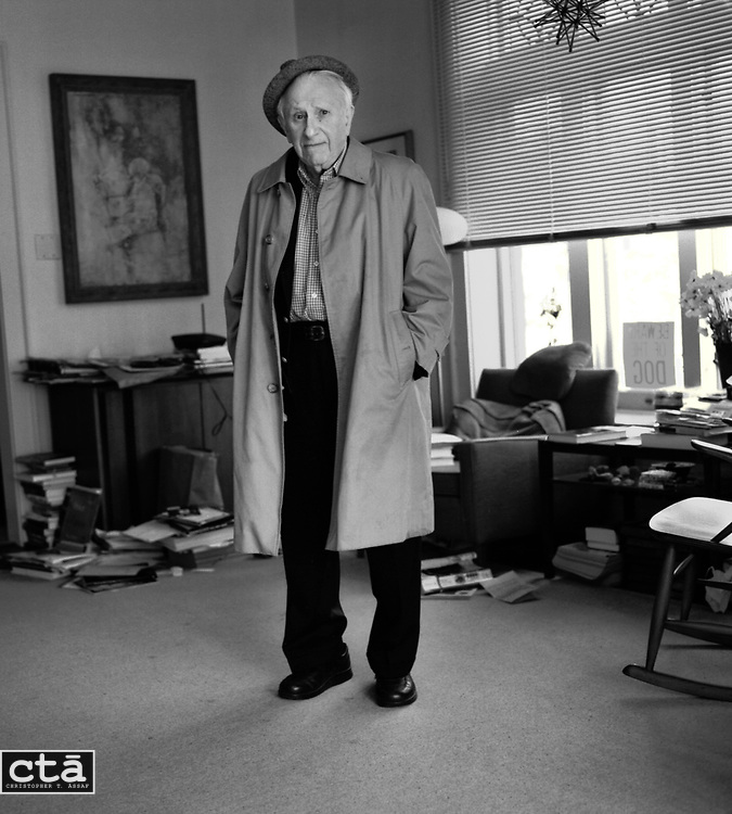 "The 88-year-old Studs Terkel, standing in the living room of his Chicago home, spent much of the his career discussing all aspects of 20th-century life with movers, shakers, artists, and the working folks of Chicagoland. The oral historiam spent 45 years on the air at WFMT radio. He alsi authored the seminal ""Working."""