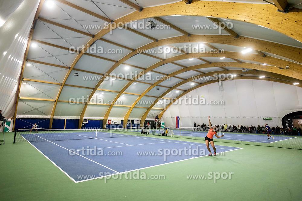 Tina Cvetkovic in action at final match during Slovenian National Tennis Championship 2019, on December 21, 2019 in Medvode, Slovenia. Photo by Vid Ponikvar/ Sportida