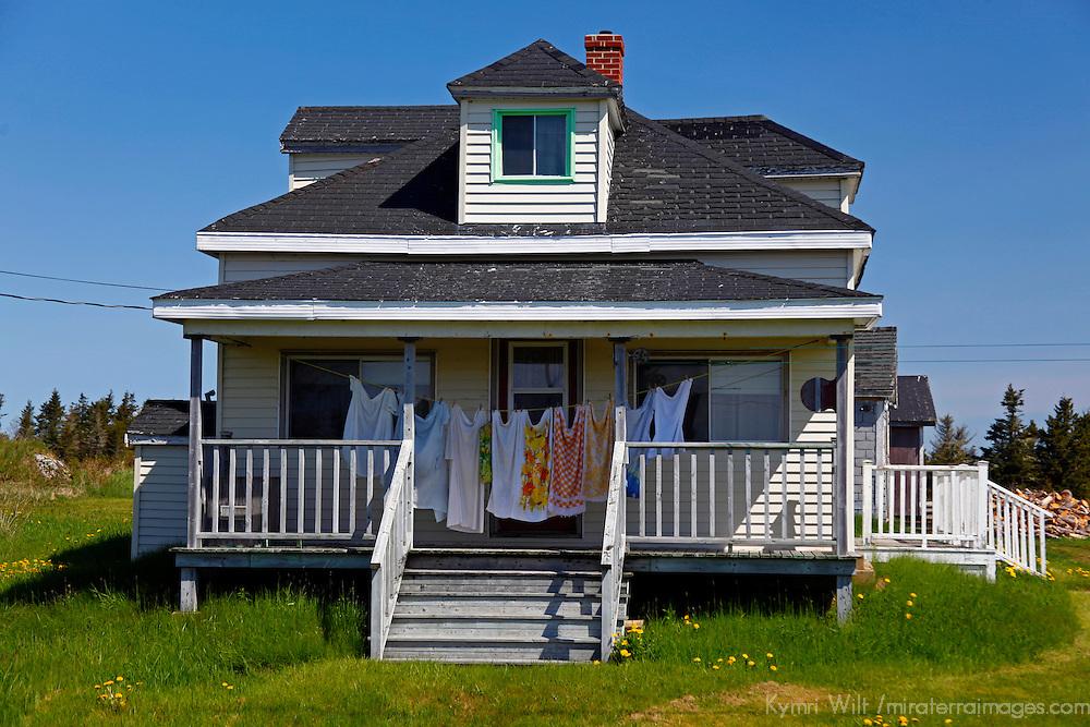 North America, Canada, Nova Scotia, Guysborough County. Laundry on porch of house in Guysborough County.