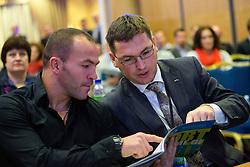 Dejan Zavec and Roman Dobnikar of Petrol during sports marketing and sponsorship conference Sporto 2012, on November 26, 2012 in Hotel Slovenija, Congress centre, Portoroz / Portorose, Slovenia. (Photo By Vid Ponikvar / Sportida.com)
