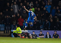 Football - 2018 / 2019 FA Cup - Third Round: Gillingham vs. Cardiff City<br /> <br /> Alex Smithies (Cardiff City) rushes out as Tom Eaves (Gillingham FC) leaps over him at Priestfield Stadium.<br /> <br /> COLORSPORT/DANIEL BEARHAM