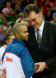 Tony Parker of France and Arvydas Sabonis, ex-player of Lithuania at medal ceremony after the final basketball game between National basketball teams of Spain and France at FIBA Europe Eurobasket Lithuania 2011, on September 18, 2011, in Arena Zalgirio, Kaunas, Lithuania. Spain defeated France 98-85 and became European Champion 2011, France placed second and Russia third. (Photo by Vid Ponikvar / Sportida)