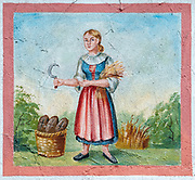 Mural of a Woman harvesting wheat with a sickle. From Tyrol, Austria