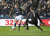 Football - 2018 / 2019 Emirates FA Cup - Sixth Round, Quarter Final : Millwall vs. Brighton<br /> <br /> Jed Wallace (Millwall FC) tries to curl the ball around Matthew Ryan (Brighton & Hove Albion) at The Den.<br /> <br /> COLORSPORT/DANIEL BEARHAM