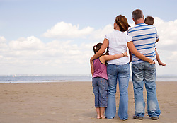 Back of young family on a beach