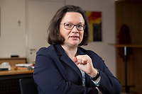 15 MAR 2018, BERLIN/GERMANY:<br /> Andrea Nahles, SPD Fraktionsvorsitzende, waehrend einem Interview, in ihrem Buero, Jakob-Kaiser-Haus, Deutscher Bundestag<br /> IMAGE: 20180315-01-011<br /> KEYWORDS: B&uuml;ro