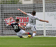 Dumbarton's Mark Docherty can't stop Dundee&rsquo;s Cammy Kerr openign the scoring - Dumbarton v Dundee, pre-season friendly at the Cheaper Insurance Direct Stadium, Dumbarton<br /> <br />  - &copy; David Young - www.davidyoungphoto.co.uk - email: davidyoungphoto@gmail.com