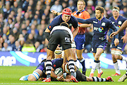 James Ritchie takes the ball to ground during the 2018 Autumn Test match between Scotland and Fiji at Murrayfield, Edinburgh, Scotland on 10 November 2018.