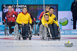 Qiang Zhang, Wei Liu, Guangqin Xu, Wheelchair Curling Semi Finals at the 2014 Sochi Winter Paralympic Games, Russia