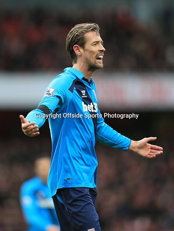 11 January 2015 - Barclays Premier League - Arsenal v Stoke City - Peter Crouch of Stoke City shrugs his shoulders - Photo: Marc Atkins / Offside.