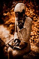 Zimsculpt at Van Dusen Botanical Garden: Study Time - springstone sculpture by Jonothan Mhondorohuma (original sculpture available at www.zimsculpt.com)