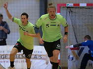 HÅNDBOLD: Aku Kreutzmann (Nordsjælland) jubler efter en scoring under kampen i 888-Ligaen mellem Nordsjælland Håndbold og Århus Håndbold den 2. september 2017 i Helsinge Hallen. Foto: Claus Birch.