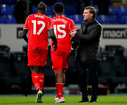 Liverpool Manager Brendan Rogers celebrates with Liverpool's Mamadou Sakho and Liverpool's Daniel Sturridge  - Photo mandatory by-line: Matt McNulty/JMP - Mobile: 07966 386802 - 04/02/2015 - SPORT - Football - Bolton - Macron Stadium - Bolton Wanderers v Liverpool - FA Cup - Fourth Round