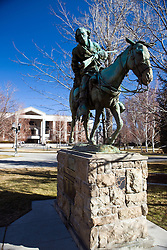 Statue of Kit Carson on a horse in front of the Nevada State Supreme Court, Carson City, Nevada.