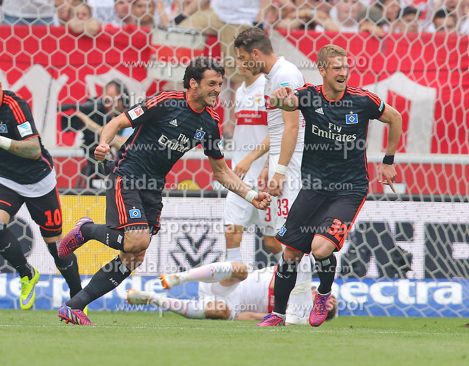 Football: Germany, 1. Bundesliga, VFB STUTTGART - HAMBURGER SV (HSV), Stuttgart - 16.05.2015,<br /> Gojko KACAR (HSV) celebrates<br /> <br /> &copy; pixathlon