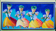 Hula dancers mural, Kailua-Kona, The Big Island, Hawaii