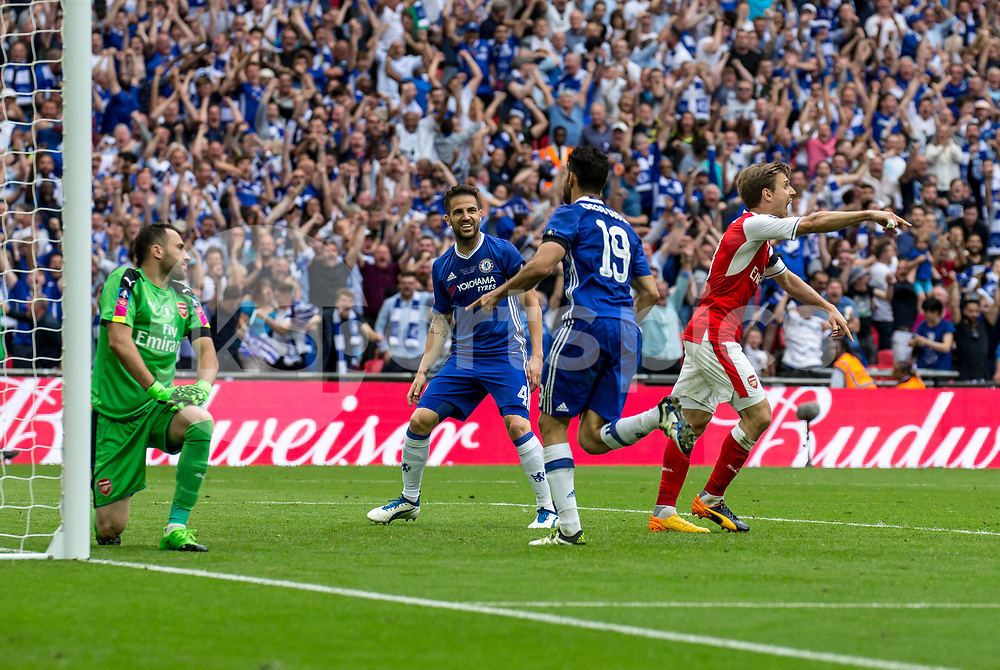 Diego Costa of Chelsea celebrates his goal during the Emirates FA Cup Final between Arsenal and Chelsea at Wembley Stadium, London, England on the 27th May 2017. Photo by Liam McAvoy.