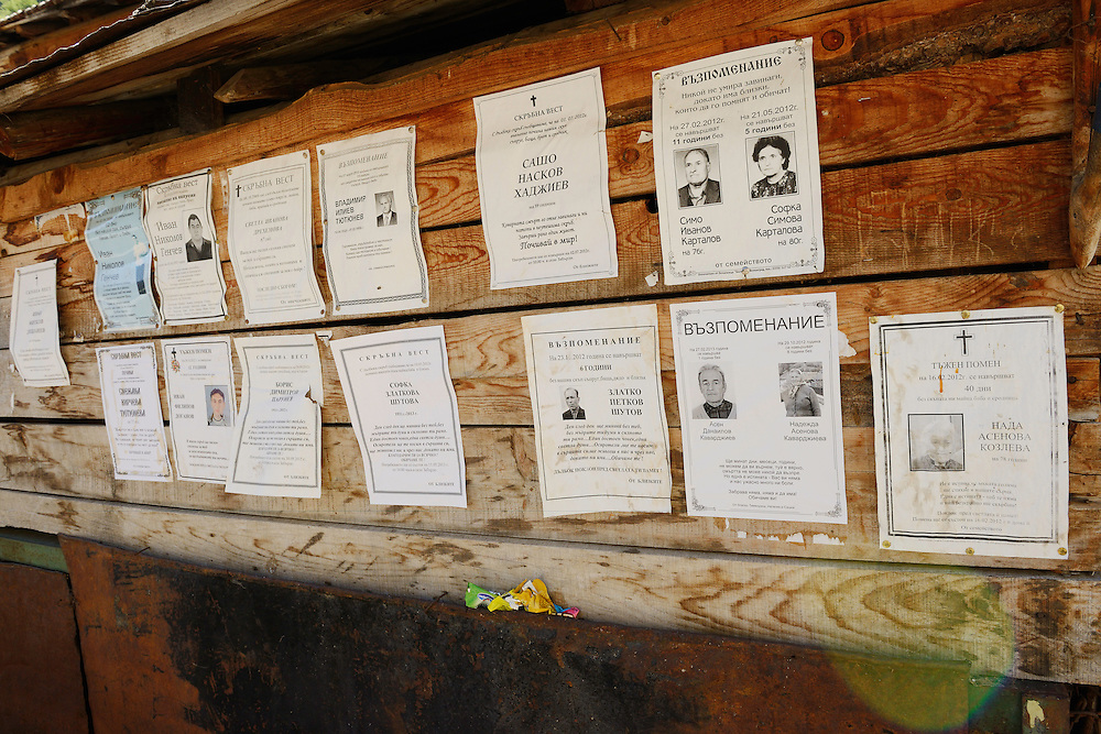 Notices of people deceased - many more than those of people born...Zabardo, Western Rhodope mountains, Bulgaria