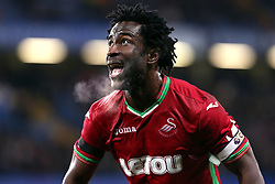 29 November 2017 - Premier League Football - Chelsea v Swansea City - The breath of Wilfried Bony of Swansea can be seen as he looks up for the ball - Photo: Charlotte Wilson / Offside