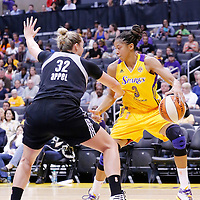 25 May 2014: San Antonio Stars center Jayne Appel (32) defends on Los Angeles Sparks forward/center Candace Parker (3) during the Los Angeles Sparks 83-62 victory over the San Antonio Stars, at the Staples Center, Los Angeles, California, USA.