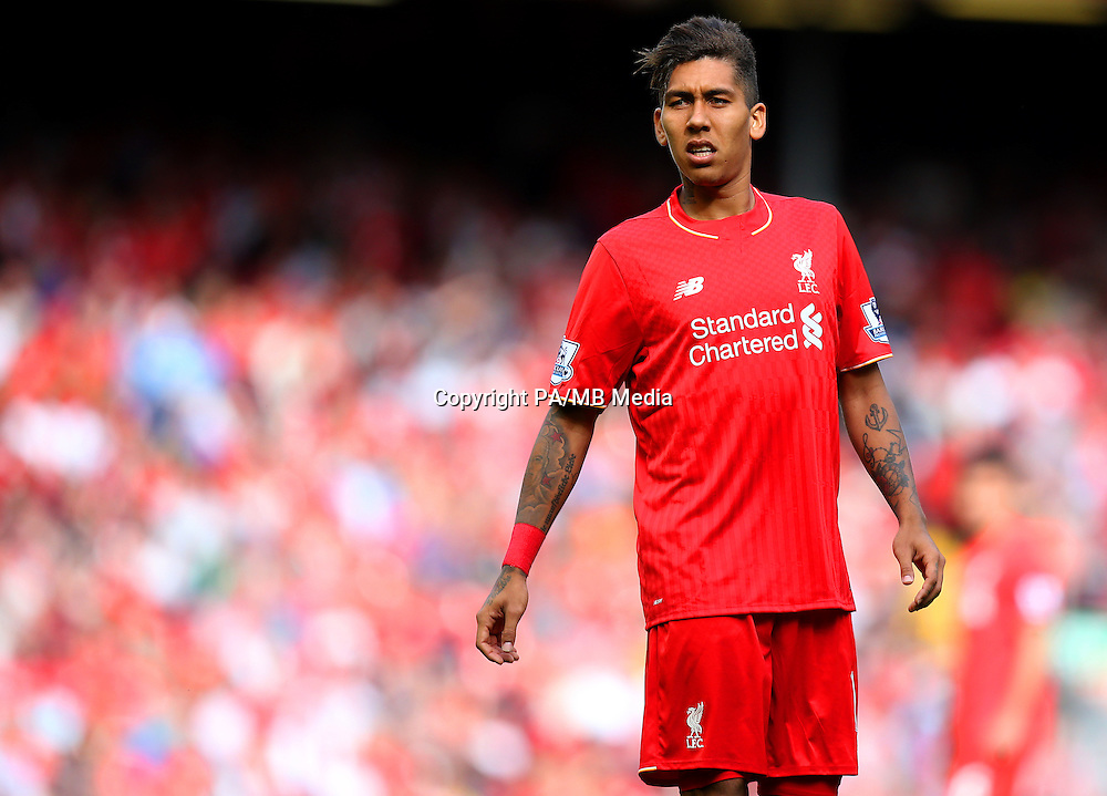 Liverpool's Roberto Firmino during the Barclays Premier League match at Anfield, Liverpool.