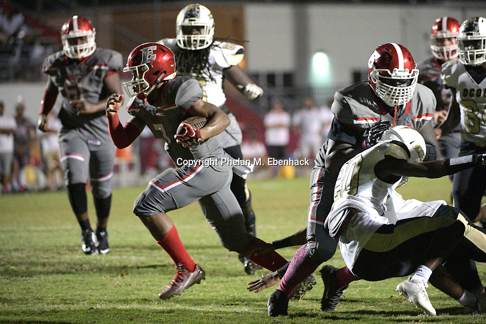 Edgewater quarterback Robert Harvey Jr. rushes for a touchdown during the second half of a high school football game against Ocoee Monday, Oct. 9, 2017, in Orlando, Fla. Edgewater won 44-29. (Photo by Phelan M. Ebenhack)