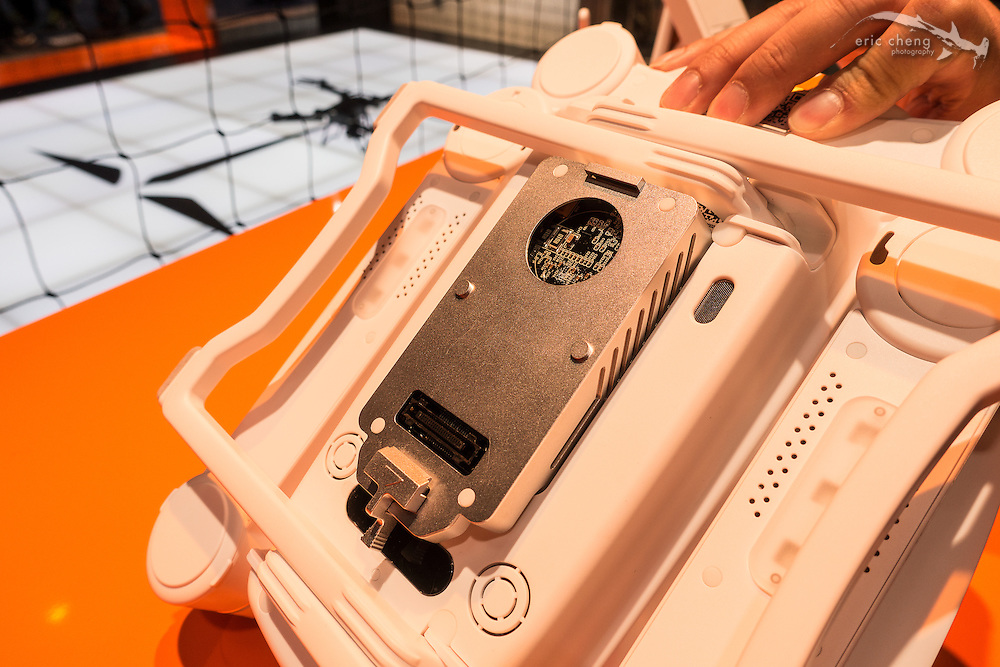 The gimbal unit clips on quickly to the bottom of the Prodrone Byrd. CES 2016, Las Vegas.