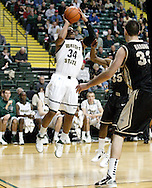 Raider junior Julius Mays (34) at the basket in the second half as the Idaho Vandals play the Wright State University Raiders at the Nutter Center, Tuesday, December 20, 2011.