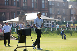 Former US president Barack Obama playing golf at St Andrews. Teeing off at the first.