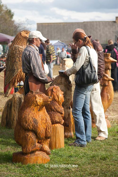 Carved Wooden Sculptures in Lüübnitsa Fair, Setomaa, Põlva County, Estonia