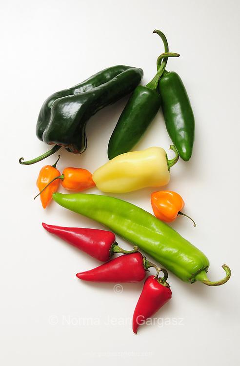Chili peppers--Poblano Chili (big, dark green): Jalapeno (dark, slim green): Anaheim (long, light green); Red Fresno (red); Habanero (orange); Yellow Hots (light yellow)