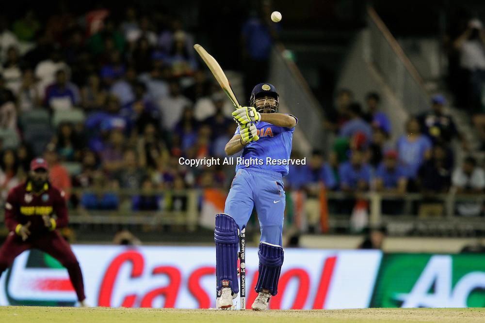 06.03.2015. Perth, Australia. ICC Cricket World Cup. India versus West Indies. Ravindra Jadeja pulls the ball to mid on.