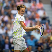 2019 US Open Tennis Tournament- Day Fourteen.   Danill Medvedev of Russia in action against Rafael Nadal of Spain in the Men's Singles Final on Arthur Ashe Stadium during the 2019 US Open Tennis Tournament at the USTA Billie Jean King National Tennis Center on September 8th, 2019 in Flushing, Queens, New York City.  (Photo by Tim Clayton/Corbis via Getty Images)