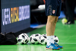Offical balls before futsal quarter-final match between National teams of Kazakhstan and Serbia at Day 7 of UEFA Futsal EURO 2018, on February 5, 2018 in Arena Stozice, Ljubljana, Slovenia. Photo by Urban Urbanc / Sportida