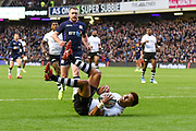 Ben Volavola beats Stuart Hogg to the loose ball during the 2018 Autumn Test match between Scotland and Fiji at Murrayfield, Edinburgh, Scotland on 10 November 2018.