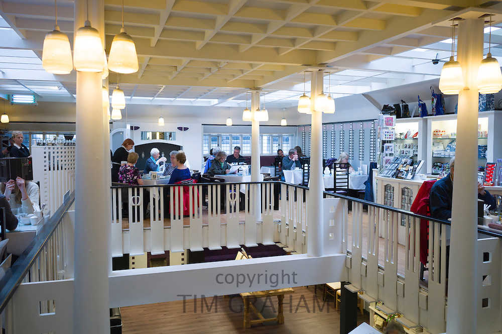 Customers in the Willow Tearooms and Gift Shop designed by Charles Rennie Mackintosh in 1903 in Sauciehall Street, Glasgow, Scotland, UK