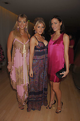 Left to right, LIZ FULLER, HOFIT GOLAN and LINZI STOPPARD at the Lauren-Perrier 'Pop Art' Pink Party in aid of Capital 95.8's Help A London Child, held at Suka at the Sanderson Hotel, 50 Berners Street, London W1 on 25th April 2007.<br />