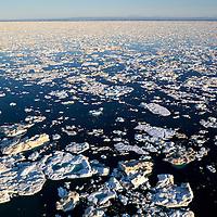 Canada, Nunavut Territory, Aerial view of sea ice in Frozen Strait near Vansittart Island